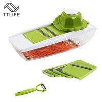 TTLIFE 9 PCS Set Multifunctional Vegetable Cutter Manual Mandoline Slicer With Interchangeable Stainless Steel Peeler Grater