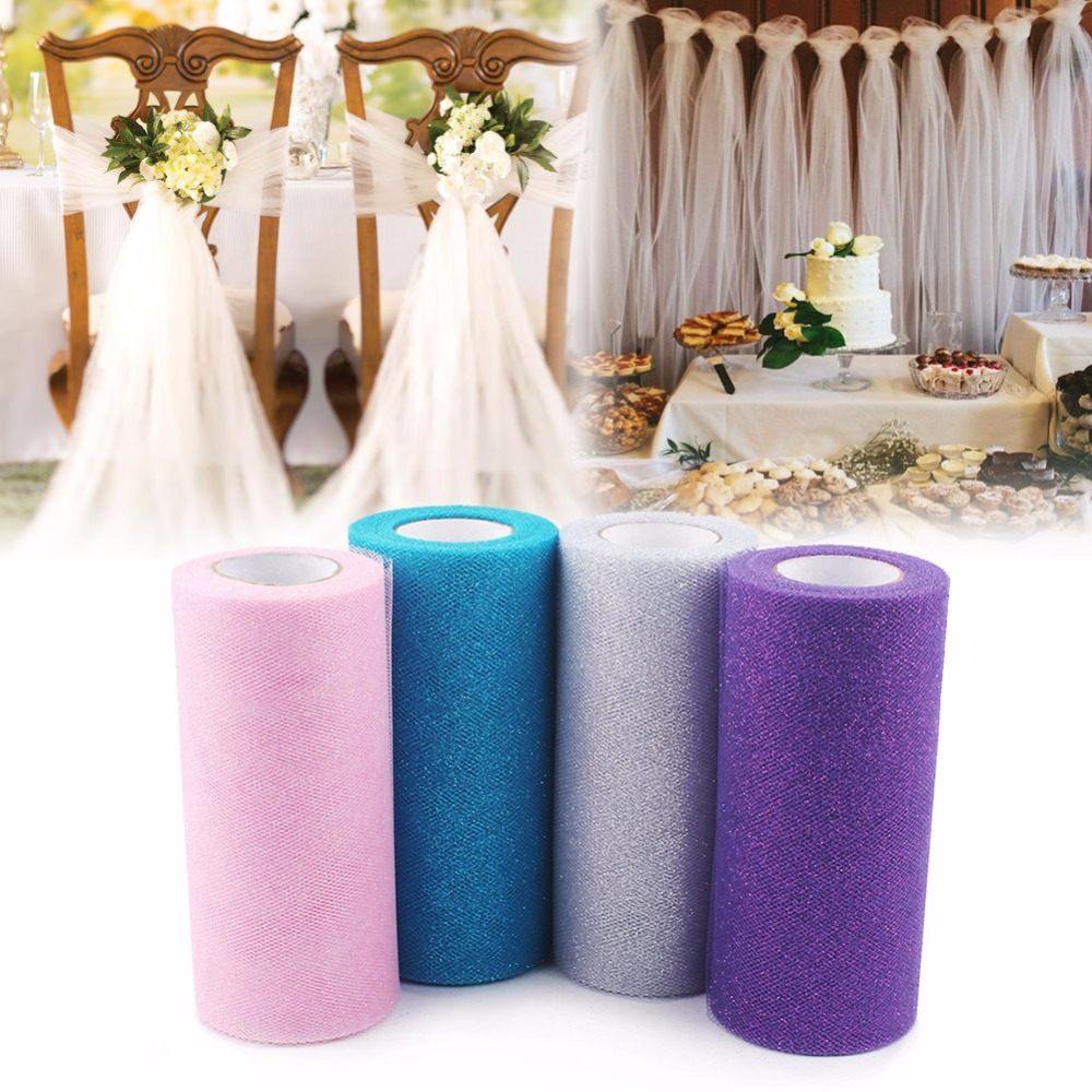 2pcs glitter tulle rolls 25yd shimmering colored tulle roll for wedding decoration spool craft. Black Bedroom Furniture Sets. Home Design Ideas
