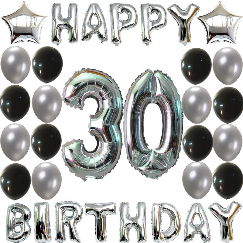 Adult's 30 Birthday Decor Balloons 33pcs Silver Number Birthday Letter Balloons 1.2g latex globos Congratulate 30 Party Supplies