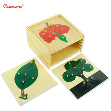 Wooden Set Cabinet With Plants Puzzles Knob Montessori Toys Educational Children Kids Teaching Aids BO001-3