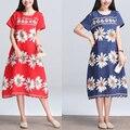 2017 verão plus size solto tendência nacional das mulheres do vintage impressão de médio-longo-curto manga vestido de linho feminino vestido ocasional
