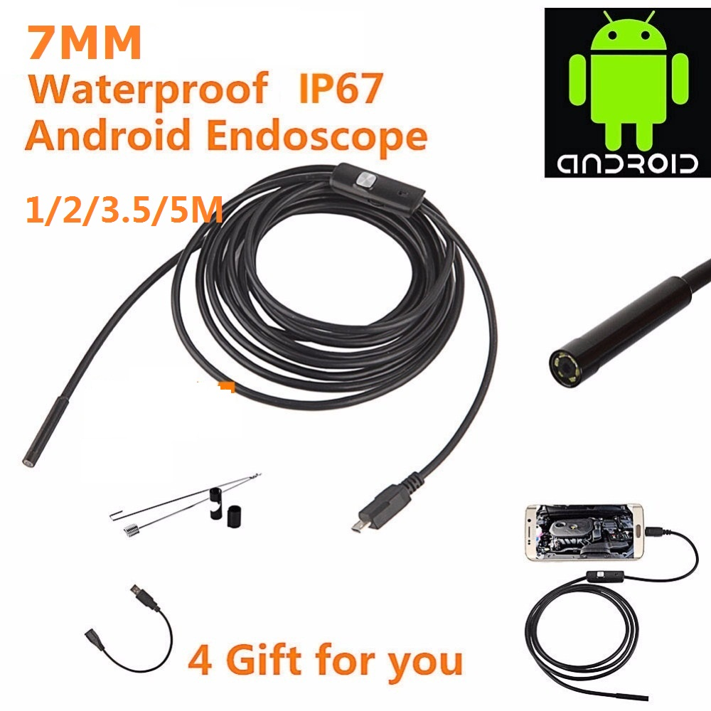 Android Phone Endoscope 7mm Lens USB Kamepa Waterproof Snake Tube Inspection OTG USB Endoscope Camera 1M2M 3.5M 5M Cable 6pc LED 2m mini android usb endoscope camera 5 5mm lens snake tube waterproof android phone otg usb endoscope borescope camera 6pcs led