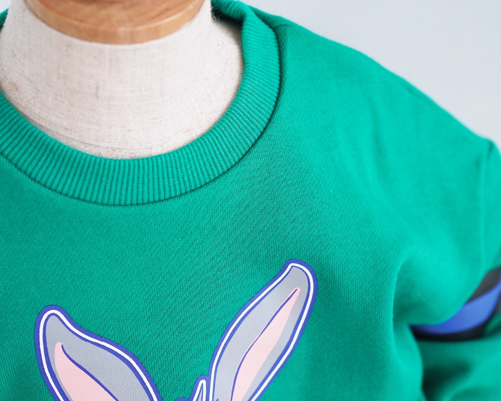 Family Matching Clothes Green Cartoon Rabbit Hoodies for Girls Matching Mother and Daughter Father Son T shirt Family Look 2019 in Matching Family Outfits from Mother Kids
