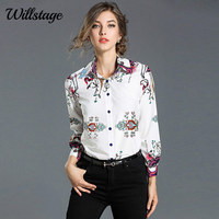 Willstage Blanc Chemises Floral Motif Imprimé Blouse Femmes Animal Fleur Formelle Chemise dames de Bureau OL Vêtements de Travail 2018 Printemps Nouveau