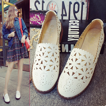 Hot Selling! Summer New Fashion White Shoes Shallow Mouth Hollow Bullock British Style Flat Shoes Big Yards Shoes Size34-43