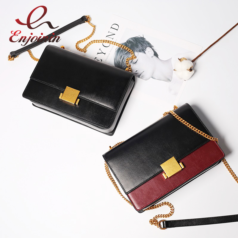 New style fashion design splicing color Genuine Leather high quality ladies shoulder bag handbag female crossbody messenger bag leisure women s crossbody bag with splicing and color block design