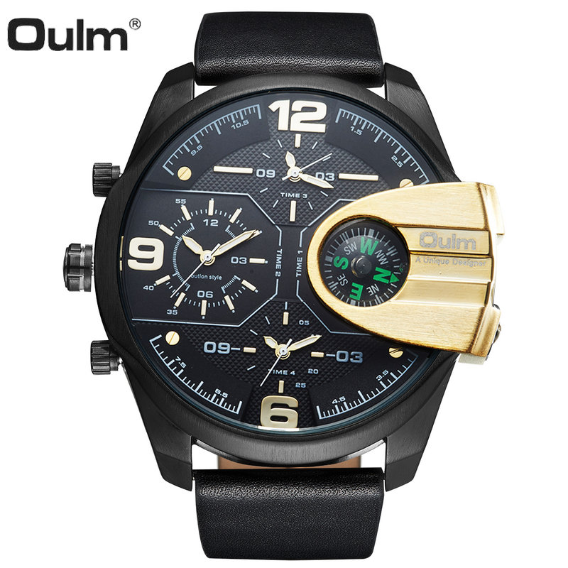 OULM Fashion Outdoor Compass Quartz Watch Men 4 Time Zone Big Dial Leather Strap Top Brand Luxury Waterproof Sports Wristwatches 2017 luxury men s oulm watch sport relojes japan double movement square dial compass function military cool stylish wristwatches