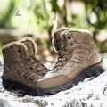 IVog 2016 Homens Botas de Trabalho do Homem da Neve do Inverno Bota de Couro Genuíno de Pelúcia Dos Homens Quentes Sapatos Tornozelo Deserto Sapato Caminhadas À Prova D' Água