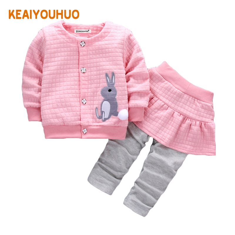 Baby Girl Clothes 2017 Spring Autumn Baby Clothing Sets Cute Rabbit Print T-shirt + Pants 2Pcs Baby Outfits Infant Clothing
