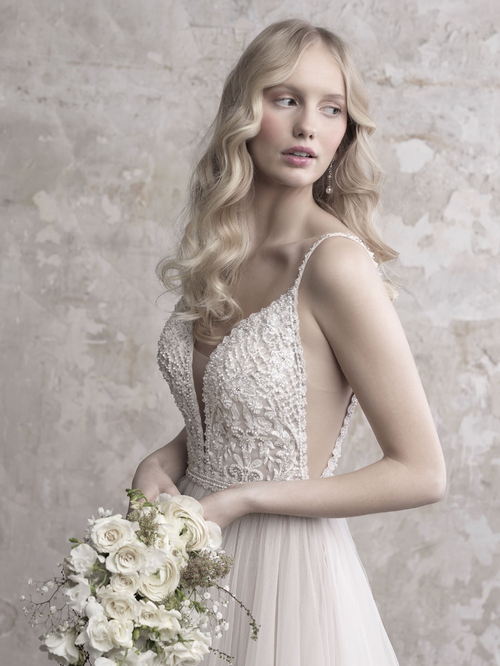 Image 4 - Gorgeous Pearls Beads Lace Applique Tulle V neck Neckline Sweep Train Wedding Dress with Backless A line Beads Spaghetti Straps-in Wedding Dresses from Weddings & Events