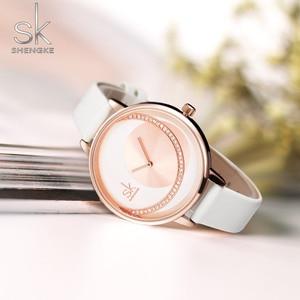 Image 3 - Shengke 시계 여성 럭셔리 크리스탈 시계 Reloj Mujer 가죽 밴드 다이아몬드 숙녀 쿼츠 시계 여성 시계 Montre Femme