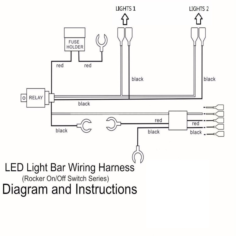 hight resolution of 12v 24v 300w led light bar work light wiring harness 40 amp relay on wiring diagram wiring diagram led light bar wiring 24v power wheels