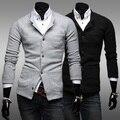 Homens de terno roupas outono breve gola preta fina blazer escovado único terno breasted