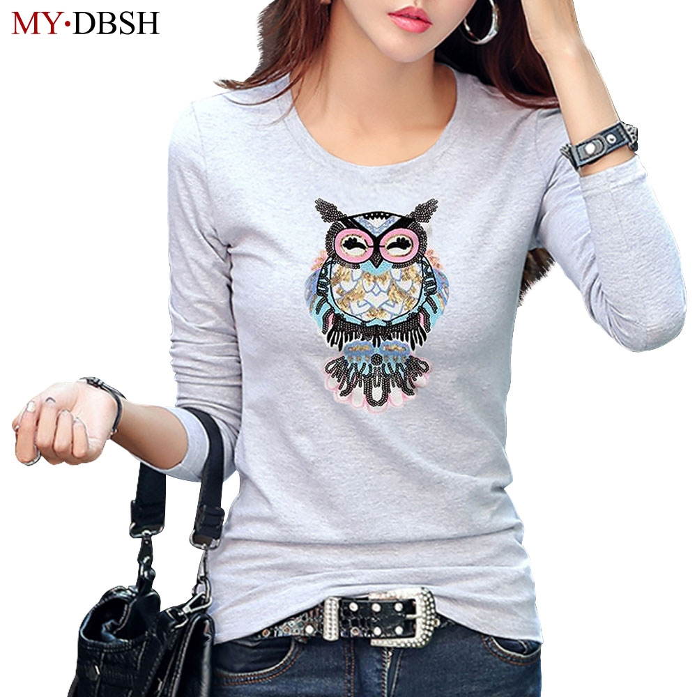 New Summer Women High Quality Cotton T-shirt Fashion Sequin Appliques Owl T Shirt Lady Harajuku Punk Rock Long Sleeve Tee Shirts