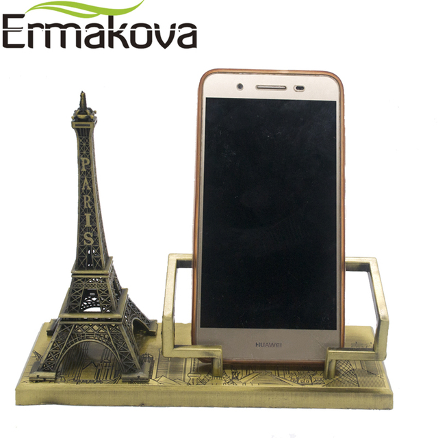 ERMAKOVA Vintage Metal Paris Eiffel Tower Model Tower Figurine Mobile Phone  Holder Phone Stand Home Office