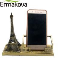 ERMAKOVA Vintage Metal Paris Eiffel Tower Model Tower Figurine Mobile Phone Holder Phone Stand Home Office Decor Gift