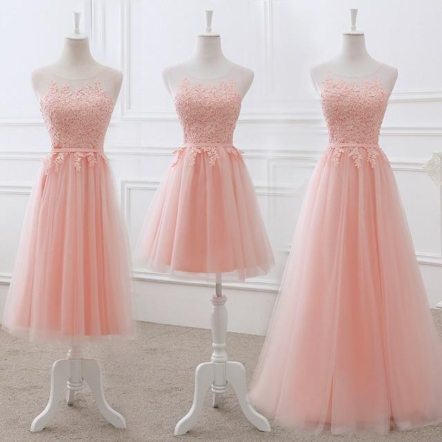37335f1ed1b Vestido De Noiva New Blush Pink Bridesmaid Dress Long Appliques Lace Sheer  Neck Lilac Elegant Wedding Prom Party Formal Gown