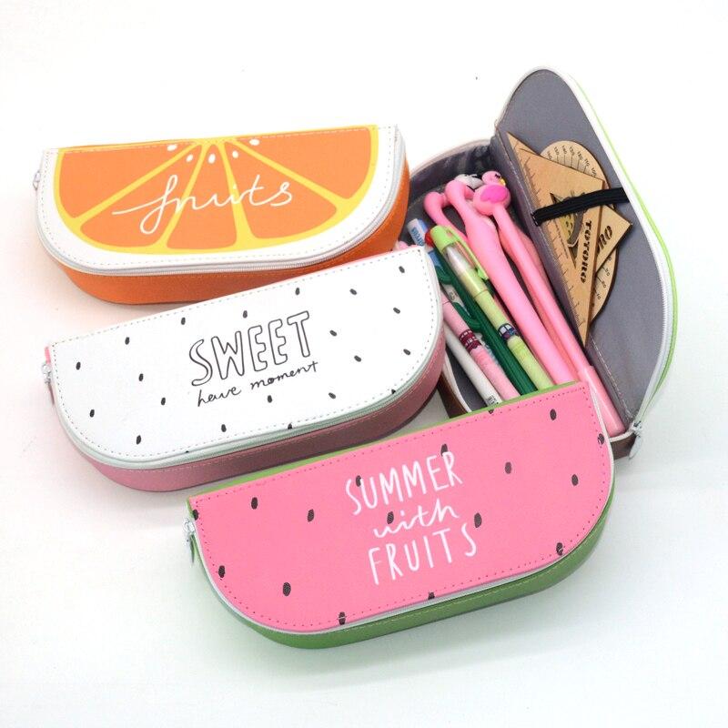 Pencil Case Estojo Escolar Papelaria Etui Estuche Kalem Kutusu Fruit School Pencilcase Trousse Scolaire Stylo Cute Watermelon