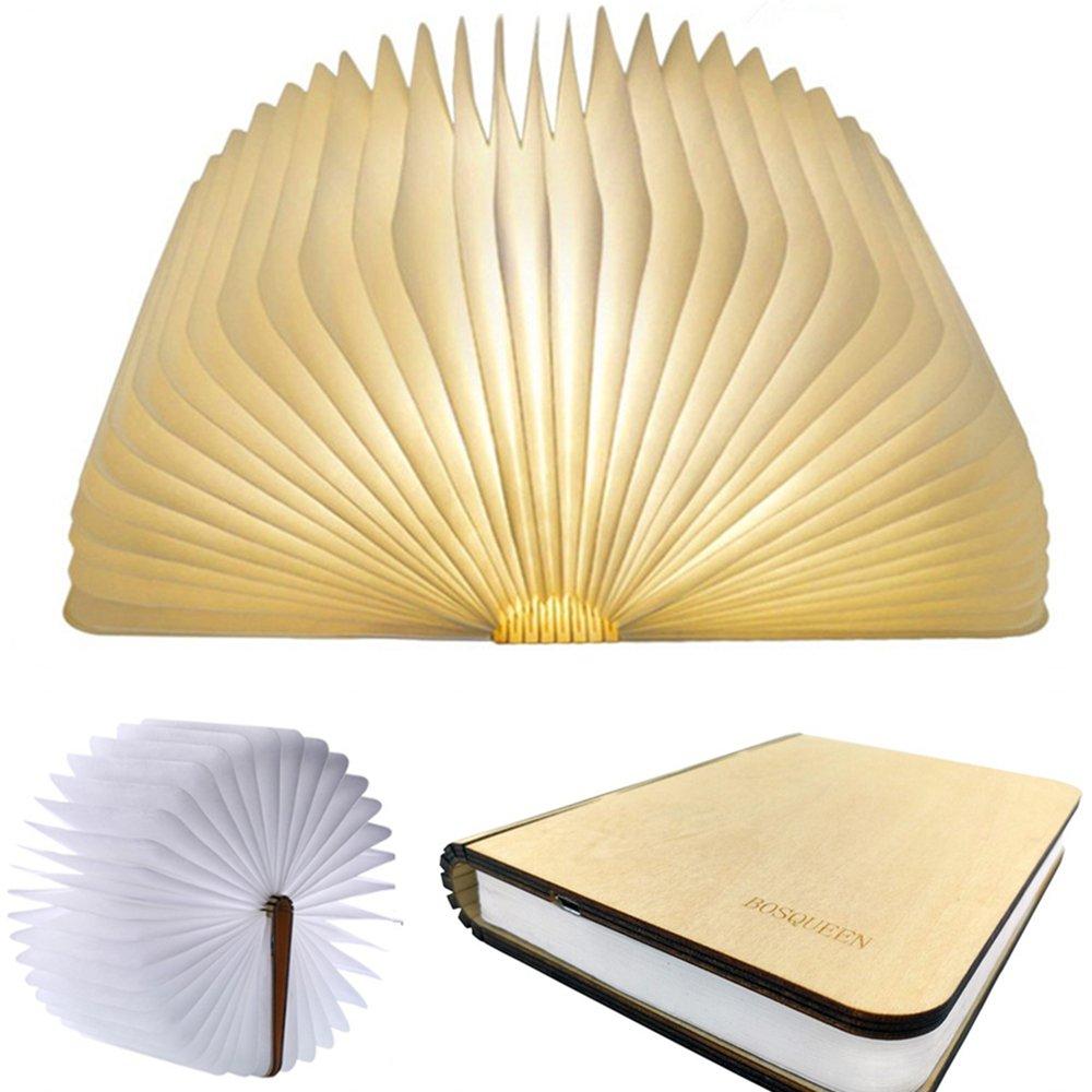 Folding Art Led Book Lamp Light USB Rechargeable Foldable Wooden Night Light Valentine Birthday Christmas Gift For Family Friend