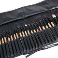 Facial Maquillaje Cepillos 32 Unids Cepillos Cosméticos Maquillaje Cepillo Cosmético Kit Maquiagem Cosméticos Cepillo de Pelo de Cabra con Cuero bolsa