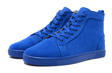 Super Hot High Quality Men Casual Shoes Fashion Blue Suede Leather Gentleman Lace Up High Tops Black Python Leather Shoes Size46