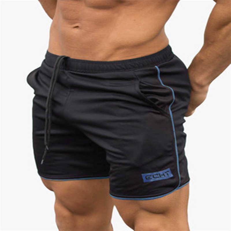 Letnie męskie siłownia szorty fitness kulturystyka jogging treningowe męskie 2019 marka krótkie spodnie do kolan oddychająca siatka spodnie dresowe
