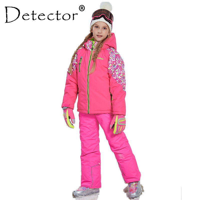 Detector Girl Winter Warm Skiing Suit Windproof Ski Jacket and Pant Outdoor Children Clothing Set Kids Snow Sets For Boys Girls detector girls ski set children waterproof windproof clothing kids ski set winter warm snowboard outdoor girl ski jacket