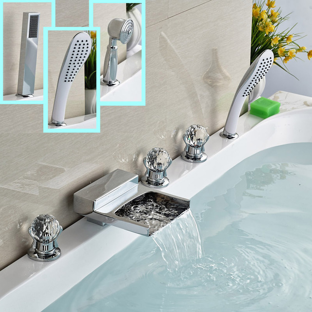 3 Models Waterfall Faucets For Bath And Shower Deck Mount 5 Install Holes Tub Filler