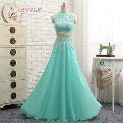 Hvvlf mint green 2017 prom dresses a line high collar chiffon lace two pieces long prom.jpg 250x250