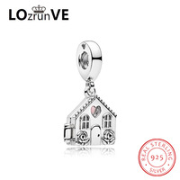 LOZRUNVE original DIY jewelry S925 silver bamoer heart lovely home house cute fashion charm women factory wholesale