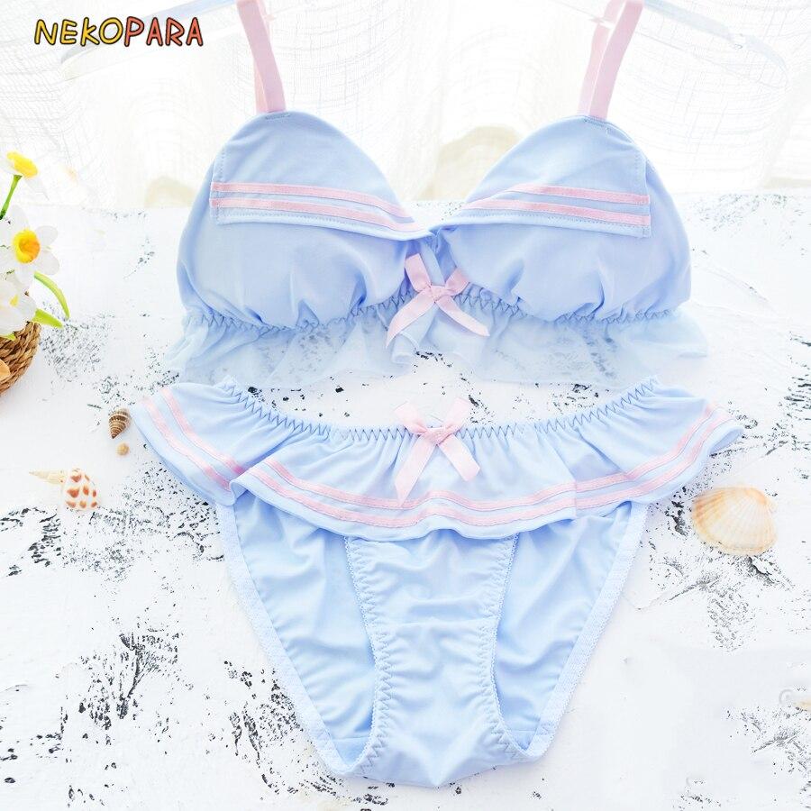 7070bbb95df6 Grey Blue Sailor Cute Japanese Milk Silk Bra & Panties Set Wirefree Soft  Underwear Sleep Intimates