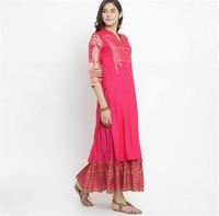 Print Costume India Woman Ethnic Styles Set Cotton India Dress Three Quarter Sleeve Costume Elegent Lady Long Top Skirt