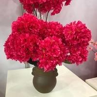 5 vork met bladeren Nieuwe 5 gevorkte hortensia kersenbloesems Sakura simulatie van kunstbloemen bruid bedrijf bloem