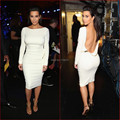 Moda blanco de manga larga Backless de longitud de té Celebrity Spandex vestidos venta caliente