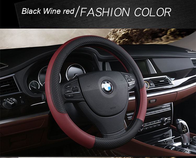 Universal Skidproof Soft Silicone Auto Car Steering Wheel Cover Shell Protector Car Steering Wheel Cover Genuine Leather Steering Wheel Cover Color : Dark blue