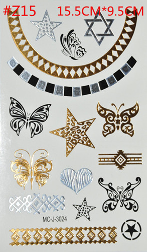 Gold And Silver Pendant Necklace Golden Bronzing Temporary Tattoo Flash Tattoo Toxic Waterproof Disposable Tattoo Body Art