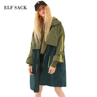 ELF SACK 2018 Spring Loose Women Parchwork Letter Prints Trench Coats Hooded Womens Striped Color Blocking BL Punk Outerwear