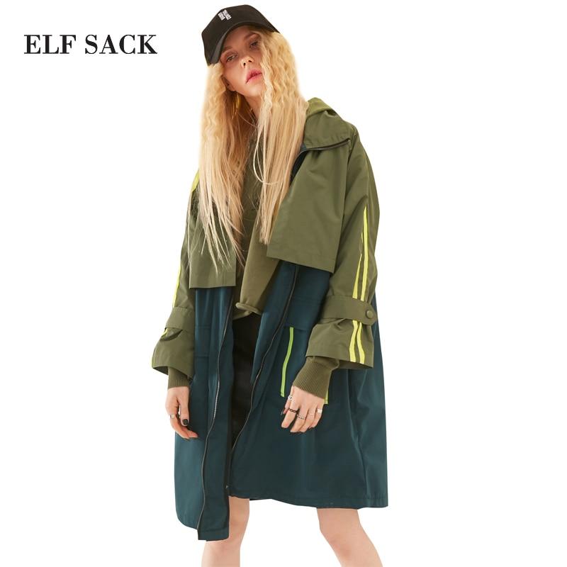 Elf saca 2018 primavera mujeres sueltas patchwork carta impresiones Trencas Abrigos con capucha rayas color blocking BL punky prendas de vestir exteriores