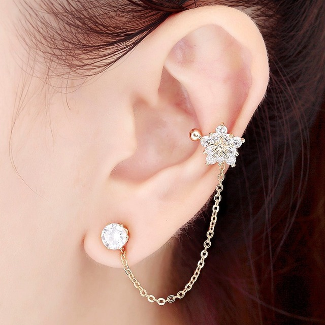 Cz Crystal Flower Ear Cuff Chain Clip Left Cartilage Wrap Earrings Gold