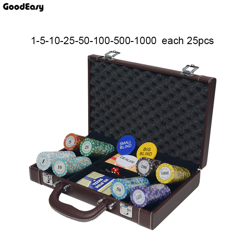 Casino Texas Holdem Clay Poker Chips Sets Pokerstars PU Suitcase Bingo Metal coins with Box &Playing cards&Dealer Buttons&Dices