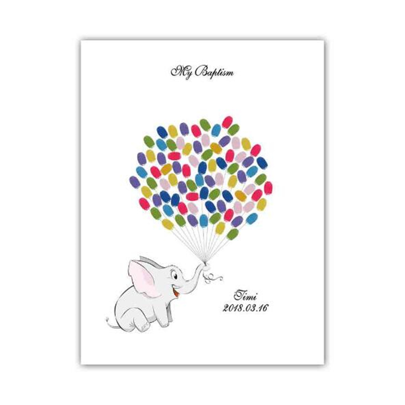 Cartoon Elephant Baby Shower Guestbook Of Guests Fingerprints For Baptism Birthday And Christening Decoration Custom Name Date