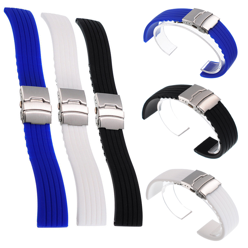 20mm 22mm reloj hombre Silicone Rubber Watch Strap Deployment Buckle Waterproof Band Sport Wrist Sweatband Watch Straps Band все цены