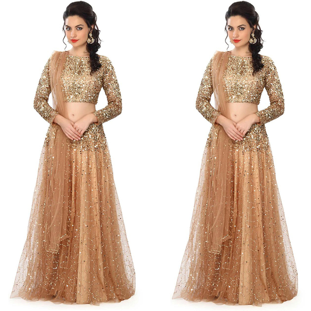 Fashion Gold Champagne Saree Indian Sequined Long Sleeves Two Pieces ...