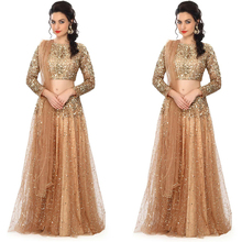 Fashion Gold Champagne Saree Indian Sequined Long Sleeves Two Pieces Evening Dress Long Women Formal Gowns 2 Pieces Evening Gown