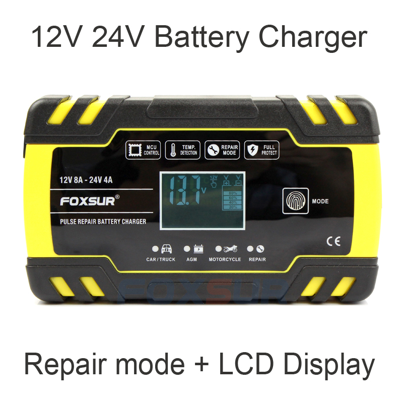 FOXSUR 12V 24V  Smart Battery Charger, Car Truck Lead-Acid AGM EFB GEL WET Battery Charger, 100-240V AC Input