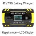 Cargador de batería inteligente FOXSUR 12V 24 V, cargador de batería húmedo AGM EFB GEL plomo-ácido para coche, entrada de CA de 100-240V