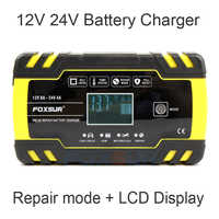 Cargador de batería inteligente FOXSUR 12V 24 V, cargador de baterías húmedas de GEL AGM EFB de plomo y ácido para coche, entrada de CA de 100-240V
