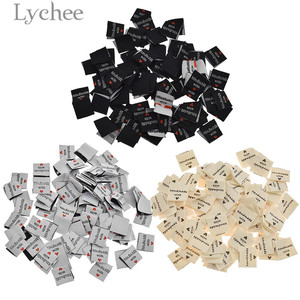 Lychee Life 100Pcs Handmade With Love Clothing Labels Embossed Tags DIY Flag Labels For Garment Sewing Accessories