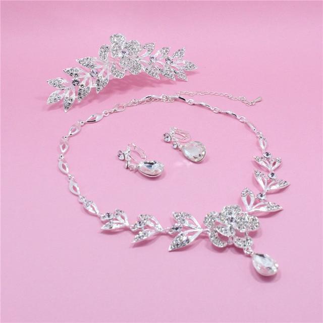 New Teardrop Rhinestone Crystal Choker Necklace + Earrings tiara Bridal Jewelry Sets African Jewelry Set