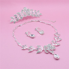 New Teardrop Rhinestone Crystal Choker Necklace + Earrings tiara Bridal Jewelry Sets African Jewelry Set